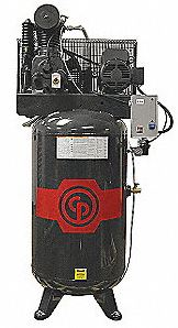 Chicago Pneumatic RCP-C583VS 5HP air compressor mounted on an 80 gallon vertical tank.