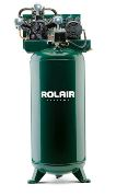 Rolair V2130K17 2 HP single stage air compressor mounted on 30 gallon vertical tank. Made in USA