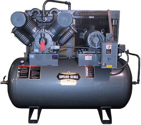 saylor beall 755-120 10 HP 2 stage air compressor mounted on a 120 gallon horizontal tank. Made in USA