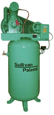 Sullivan Palatek SPVT-735-80 5HP compressor mounted on an 80 gallon vertical tank. Made in USA
